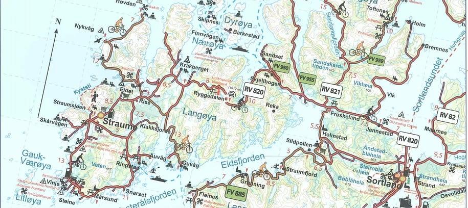 Kart av sykkelturen.